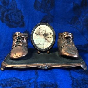 Vintage Bronze Baby Shoes Table Top Picture Frame